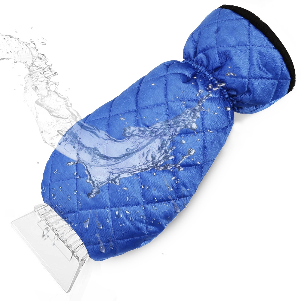 cyrico Ice Scraper Mitt for Car Windshield, Waterproof Snow Ice Scraper Gloves with Thick Fleece Lining and Durable Handle for Extra Warmth and Protection,Blue(1 Pack)