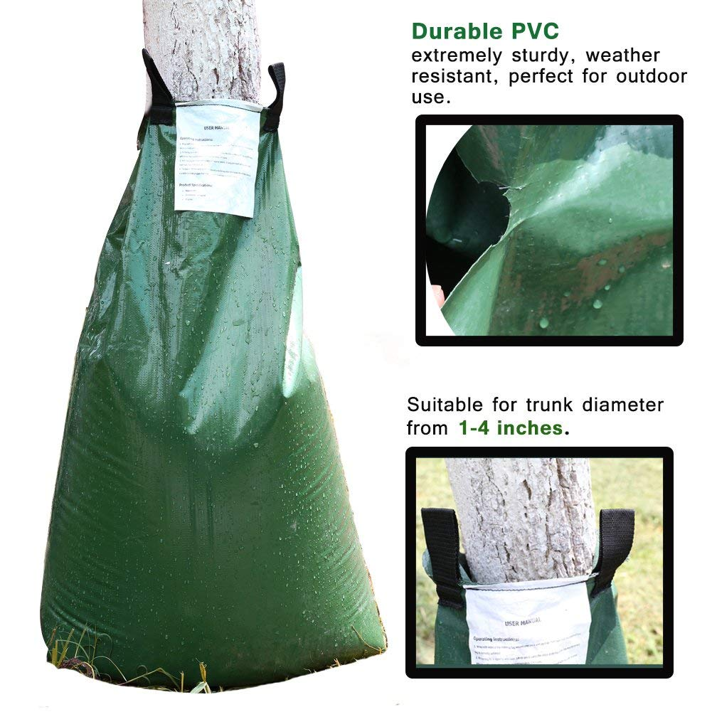 Premium 2-Pack Tree Watering Bag 20 Gallon Made of Sturdy PVC, Automatic Slow Releasing Watering Bag for Tree with Heavy Duty Zipper (2, 20Gallon)