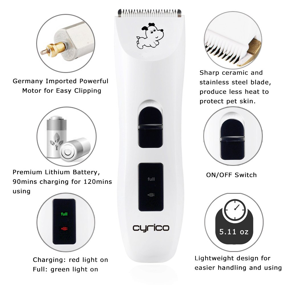 cyrico Extremely Quiet Dog Clippers for Small Dogs Pet Grooming Clippers Li-ion Cordless Pet Clippers for Large Medium Small Dogs Cats Pet Grooming Kit