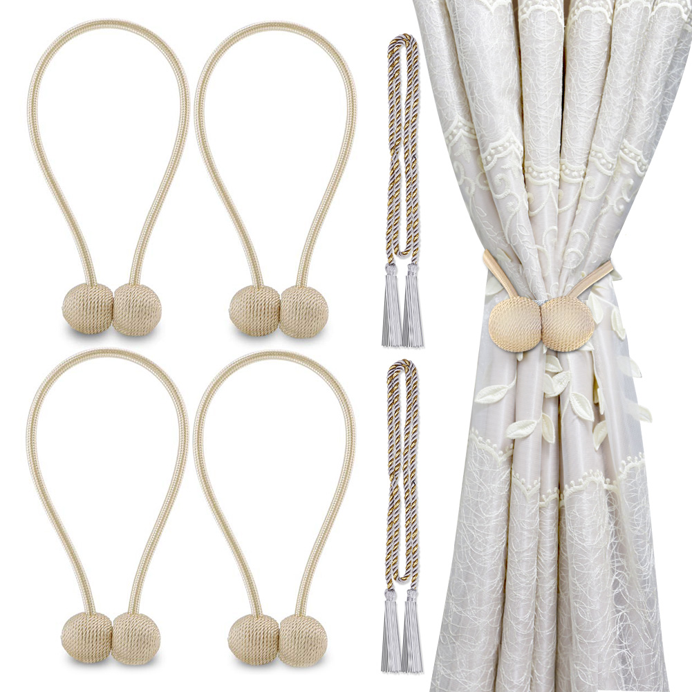 cyrico Magnetic Curtain Tiebacks, Decorative Curtain Holdbacks Rope Holdbacks Convenient Drape Tie Backs for Thick Sheer Curtains Light Weight Drapes Outdoor and Indoor Curtains,Gold (4 Pack)