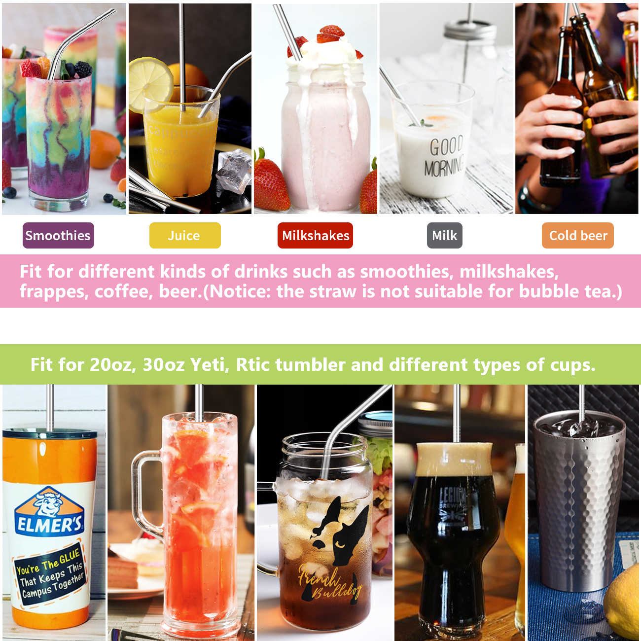 """Stainless Steel Straws,Set of 8 Reusable Stainless Steel Drinking Straws BPA Free 8.5"""" 10.5"""" Metal Straws for 20oz 30oz Yeti, Ritc Tumbler Cups Mugs with 2 Cleaning Brushes"""